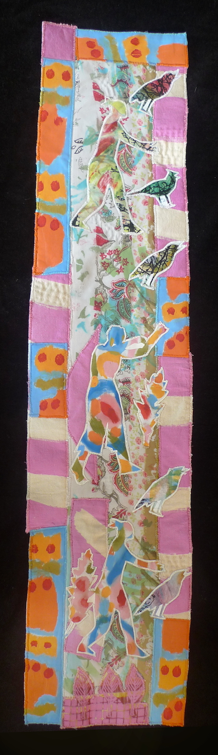 Dancing with Pink — Textile Collage / 82cm x 19cm