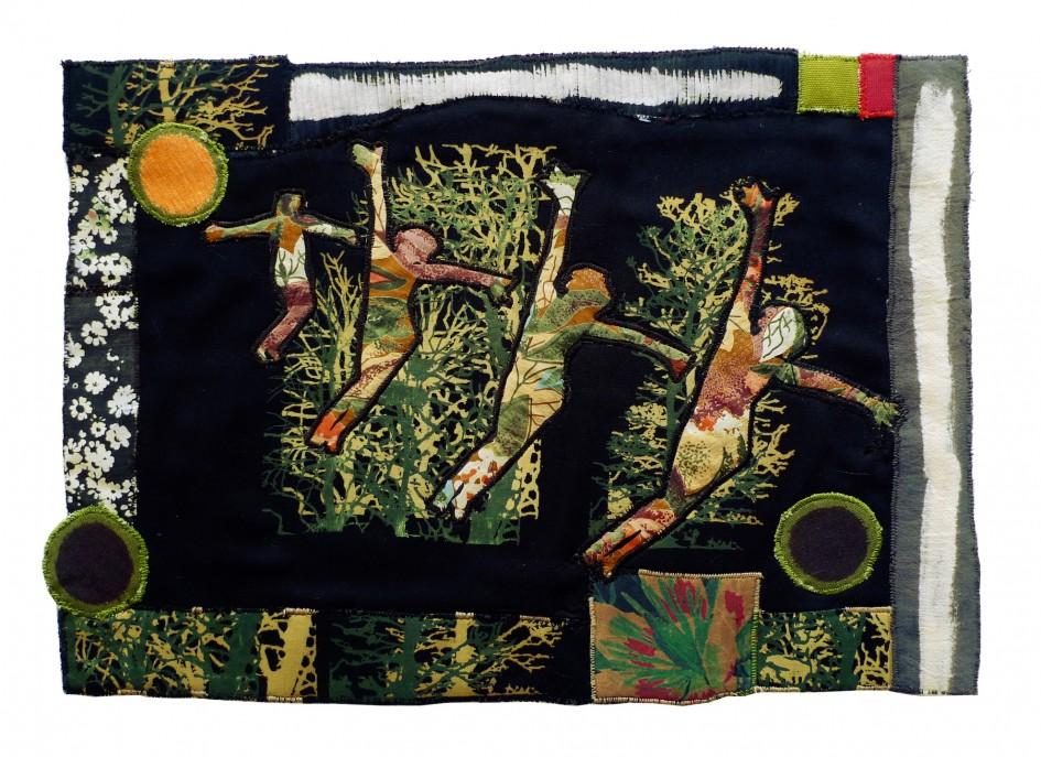 The Quartet Dancing  — Textile Collage / 27 x 38cm