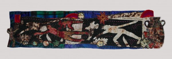The Cracks Narrowed — Textile Collage / 14 x 56 cm