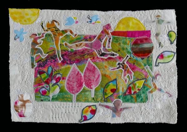 The Sun Comes — Textile Collage / 24 x 36 cm