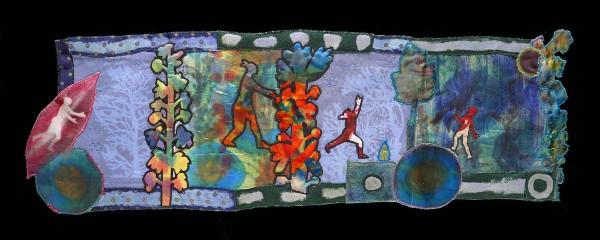 Winter 4pm — Textile Collage / 72 x 21 cm